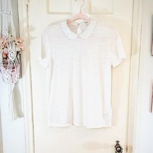 Madewell Leather Peter Pan Collar Shirt
